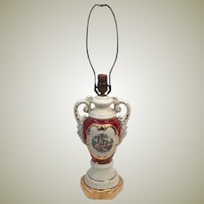 50's Ulrich Style Porcelain Urn Gilt Painted Table Lamp