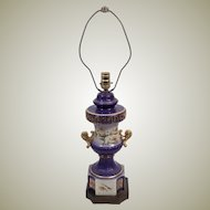 50's Country French Gilt Edge Porcelain Table Lamp