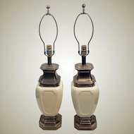 Pair Mid Century Stiffel Brass & Porcelain Lamps w Orig Shades