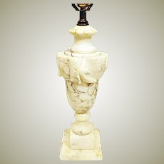 40's Italian Hand Carved Alabaster Marble Lamp