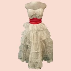 Early 60's White Strapless Tulle Lace Swing Party Dress