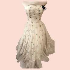 60's Strapless Tulle Mesh Swing Party Cocktail Dress