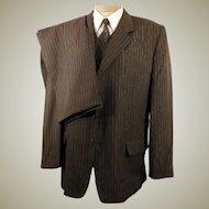 80's Italian 3 Button Gray Pin Stripe 3 pc Suit
