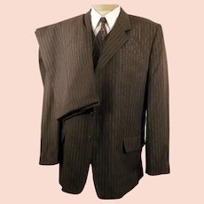 80's Italian 3 Button Gray Pin Stripe 3 pc Suit