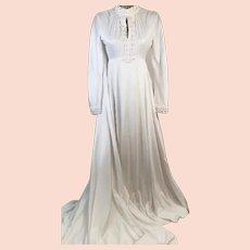 70's Empire Waist Wedding Gown w Victorian High Collar and Train