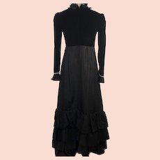 Handmade Black Velvet and Crystal Beads Formal Evening Gown