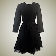 60's Black Silk Blend Party Dress by Neal McClintock