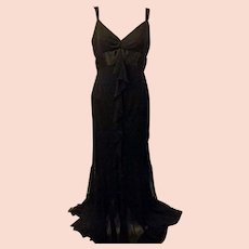 70's Black Chiffon Evening Dress Size by Allen Schwartz