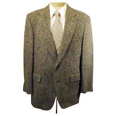 70s Harris Tweed Gray Herringbone Sport Coat