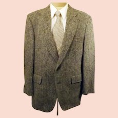 70s Harris Tweed Gray Herringbone Sport Coat