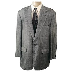 70s Corbin Sport Coat Gray Herringbone Tweed