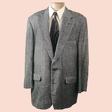 70s Corbin Sport Coat Gray Herringbone Tweed