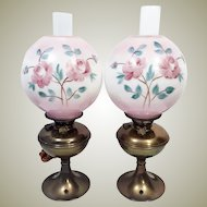 1910's Pair Pittsburgh Success Brass Oil Lamps Hand Painted Globes