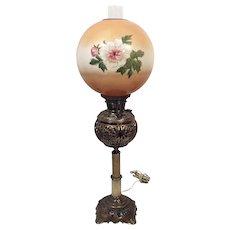 1890's Bradley Hubbard Brass Victorian Banquet Parlor Oil Lamp