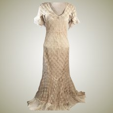 1920's  Handmade Tulle Lace Evening Gown