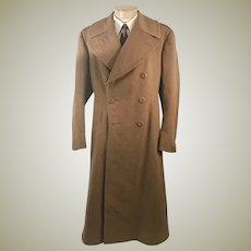 WWII Army Officers Regulation PX Khaki Long Overcoat