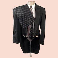 1960's Black Wool Formal Tuxedo Tails w Striped Pants