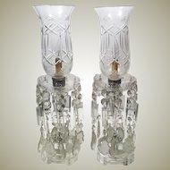 1950's Pair of Cut Glass Crystal Teardrop Prism Lamps