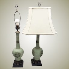1960's Pair Mid Century Lamps Hand Painted Frosted Glass w Shades