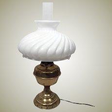 1890's Brass Rochester Oil Lamp w White Swirl  Milk Glass Globe