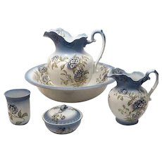1910's Alba China Wash Bowl and Pitcher Set 5 pieces