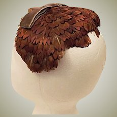 50's Pheasant Feather Fascinator Hat