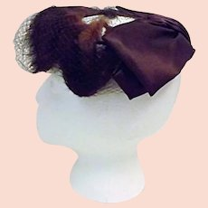 1950's Mink Fur and Satin Ribbon Cocktail Party Hat