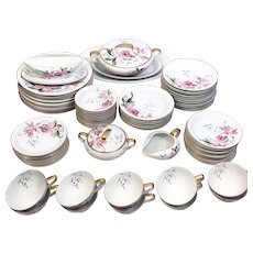 50s Noritake Dolores Fine China Dinnerware Set for 10