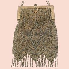 Victorian Silk Beaded Fringe Chatelaine Purse