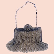 1890's Victorian Chatelaine Gold Mesh Beaded Purse