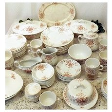 1900's English Ironstone Antique China Set for 10 Meakin Premier