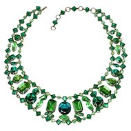 SCHREINER Necklace with Various Shades of Green Rhinestones