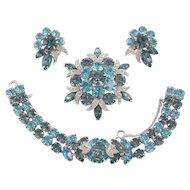 EISENBERG ICE 3-Piece Set - Sparkling Rhinestones Bracelet, Brooch and Earrings