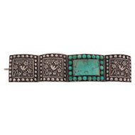 Silver and Turquoise Early Chinese Export Bracelet