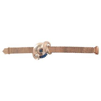KREISLER Retro Gilt Brickwork Bracelet with Rhinestone Center