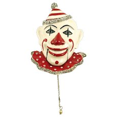 MB BOUCHER Enameled and Rhinestone Clown Fur Clip with Moveable Mouth