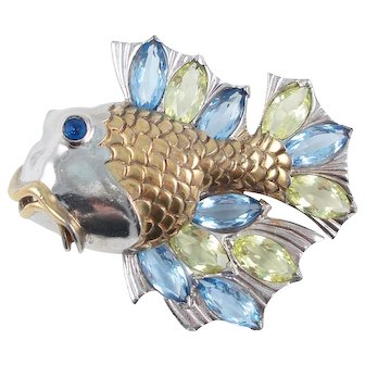 Rare, Huge BOUCHER Fish Pin with Large Marquise-Shaped Rhinestones