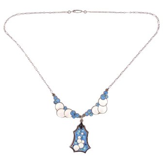 Deco Blue and White Enamel Bubbles on Sterling Necklace