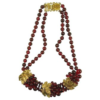 Lovely French Cranberry Red Beads and Gilt Leaves Necklace