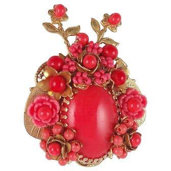 Stanley Hagler N.Y.C. Tones of Coral Art Glass Bead  and Flowers Bug Brooch