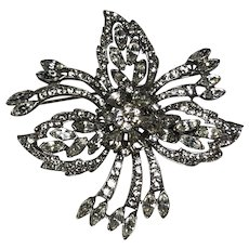Sterling Coro Craft rhinestone brooch