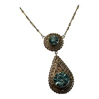 1920's 14k Genuine Blue Zircon Filigree Necklace