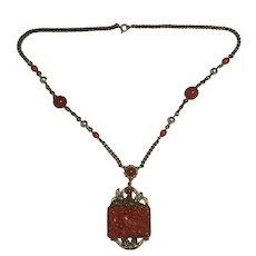 1920's Czech faux Coral necklace