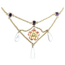 14k Festoon Necklace with Amethyst, Pearls and Enamel