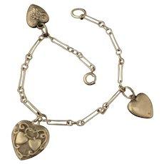 Sterling Vintage Heart Charm Bracelet Lampl