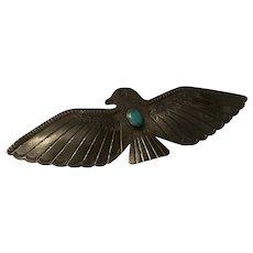 Large Native American Sterling Thunderbird Brooch