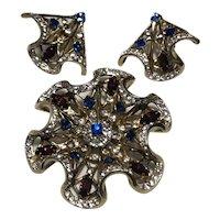 1940's Sterling Jolle brooch and earrings