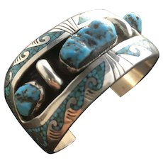 Native American Signed Sterling and Turquoise Cuff bracelet
