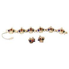 Sterling Multi Color Crown Bracelet and Earrings