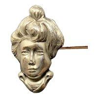 Art Nouveau Lady Sterling Hatpin